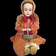 """Lovely 27"""" DEP Kestner 154 Antique Bisque Head Doll - Little Red Riding Hood"""