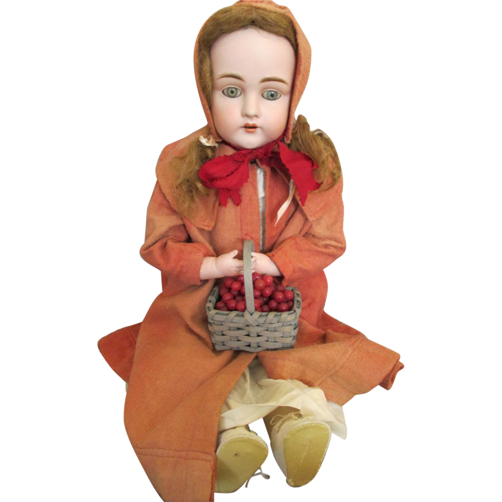 "Lovely 27"" DEP Kestner 154 Antique Bisque Head Doll - Little Red Riding Hood"