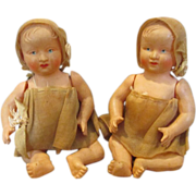 French Celluloid Twin Dolls in Matching Outfits