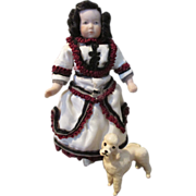 "Adorable 4.5"" Doll House Child Doll with Little French Poodle"