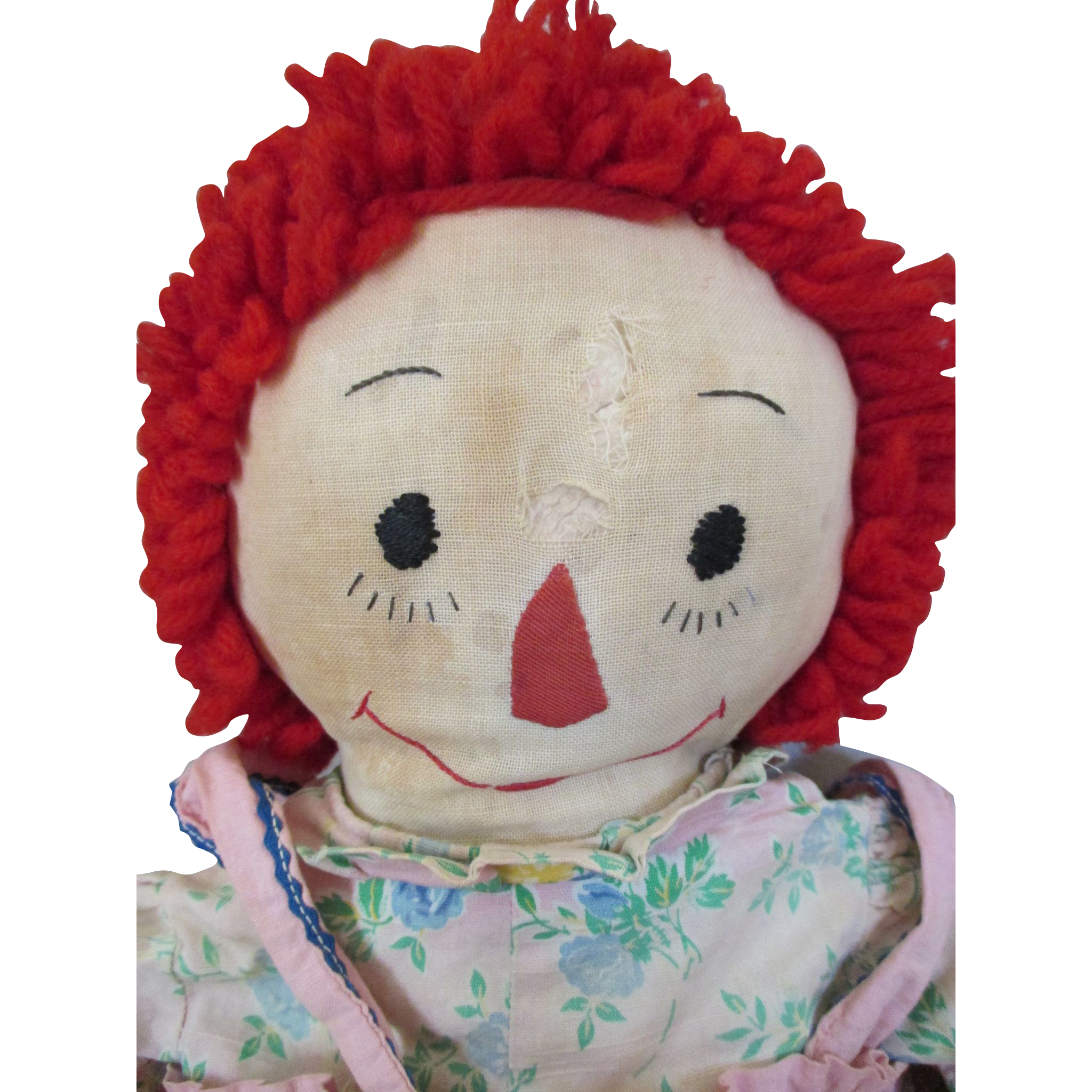 Antique Raggedy Ann Doll with Embroidered Facial Features