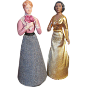 Two Elegant Doll House Sized Dolls
