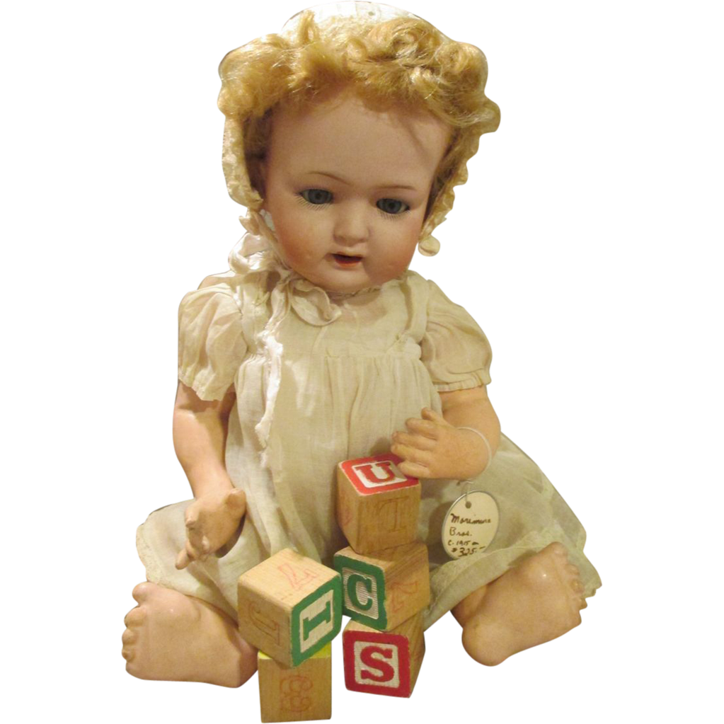 Antique Bisque Head MB Baby Doll with Adorable Expression