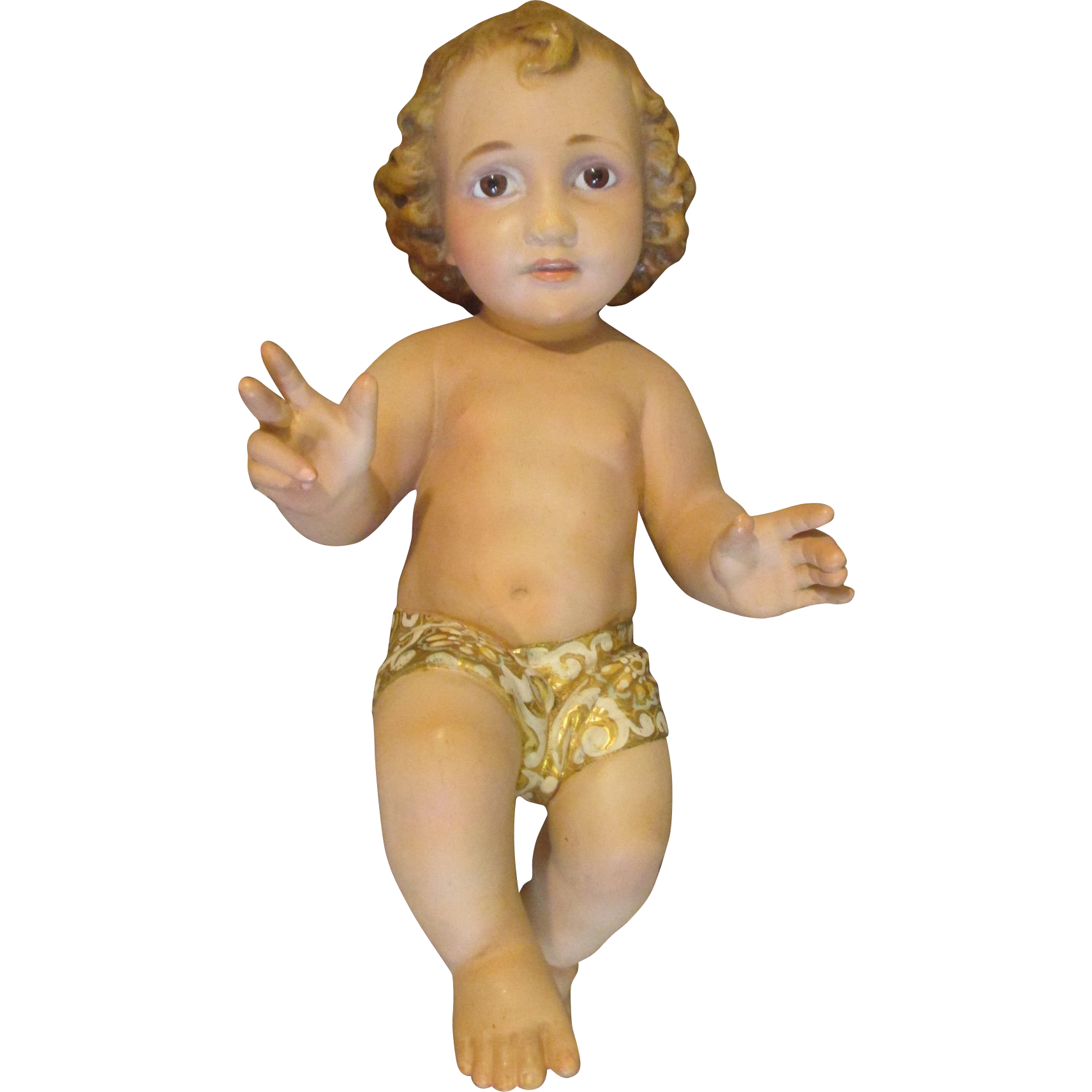 Vintage Bisque Creche Baby with Brown Glass Eyes