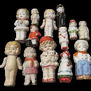 Large Group of Vintage All Bisque Dolls