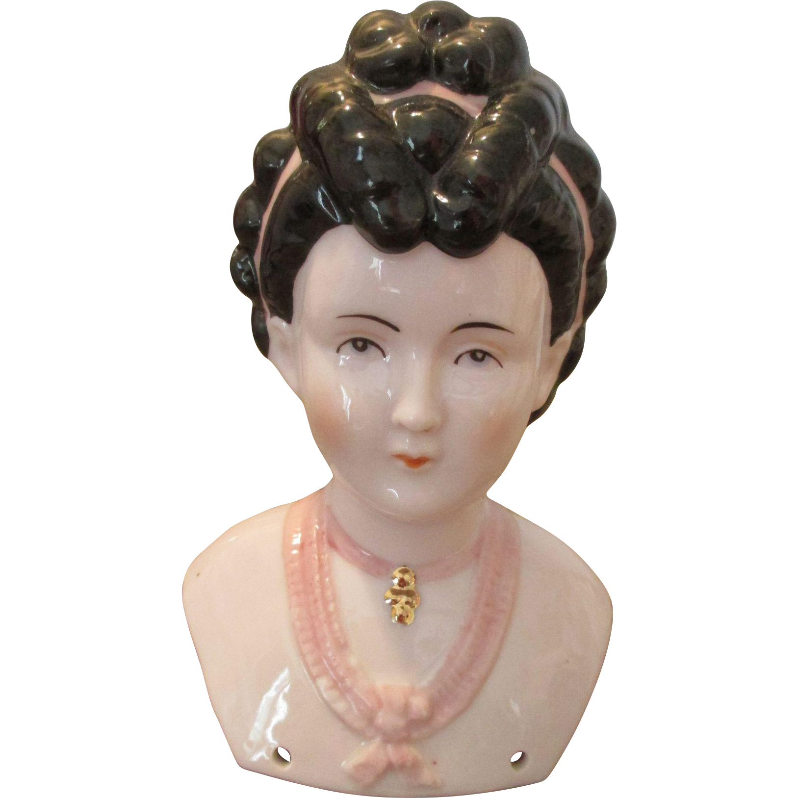 Beautiful Pink China Doll Head - Ornate Hair Style and Dower from ...