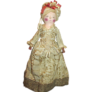 All Wood Carved Doll with Ornate Gown - Red Tag Sale Item