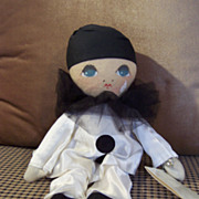 "Sad 13"" Pierrot Cloth Doll By Rosalie Pompon"