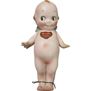 Antique All Bisque Rose O'Neill Kewpie Doll with His Original Belly Sticker