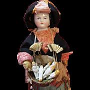 Antique China Peddler Doll - Carries Basket of Antique All Bisque Dolls