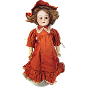 Antique French Bisque Head Doll in pretty outfit