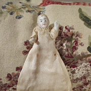 "Tiny 2.5"" All Bisque German Doll in Christening Gown"