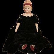 Antique Bonnet Head Doll in Lovely Dress