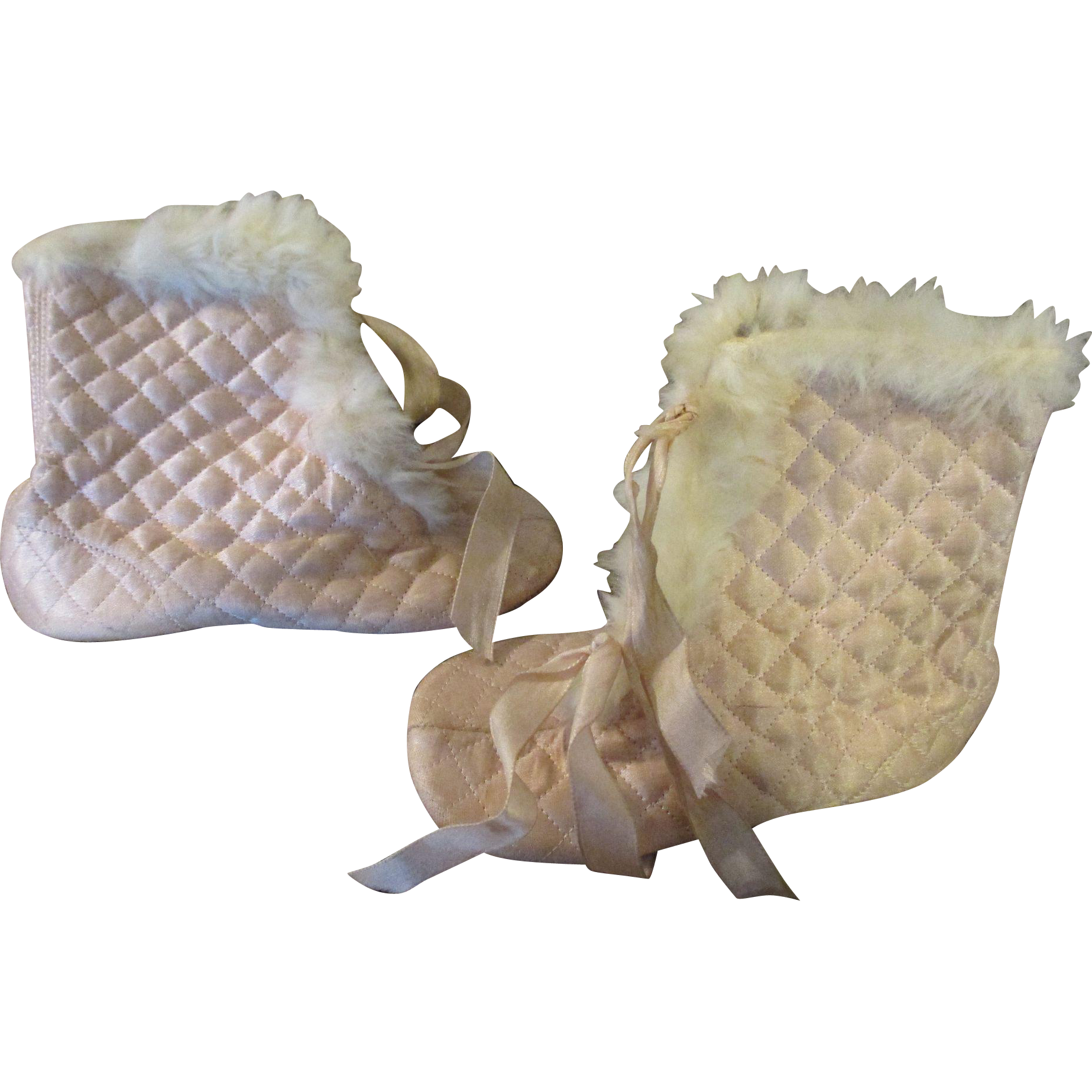 Antique Pink Quilted Satin Baby Boots