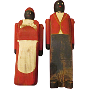 Vintage Folk Art Black Americana Wooden Dolls