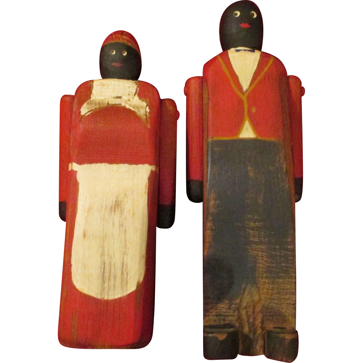 Vintage folk art black americana wooden dolls from