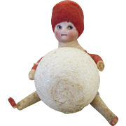 HOLD FOR FIONA - Antique German Cotton Christmas Bisque Head Doll