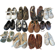 12 Pairs of Baby and Doll Shoes - Varying Sizes, Ages, and Condition