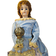 Antique Miniature Oil Lamp with Deflector for Your Antique Doll
