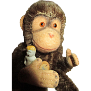 Stone Bisque Doll and Steiff Monkey