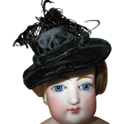 Stunning Black Bonnet for Your French Fashion Doll