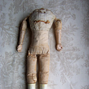 ON HOLD FOR TONI - Very Early Cloth Doll Body w/Wood Carved Hands and Legs