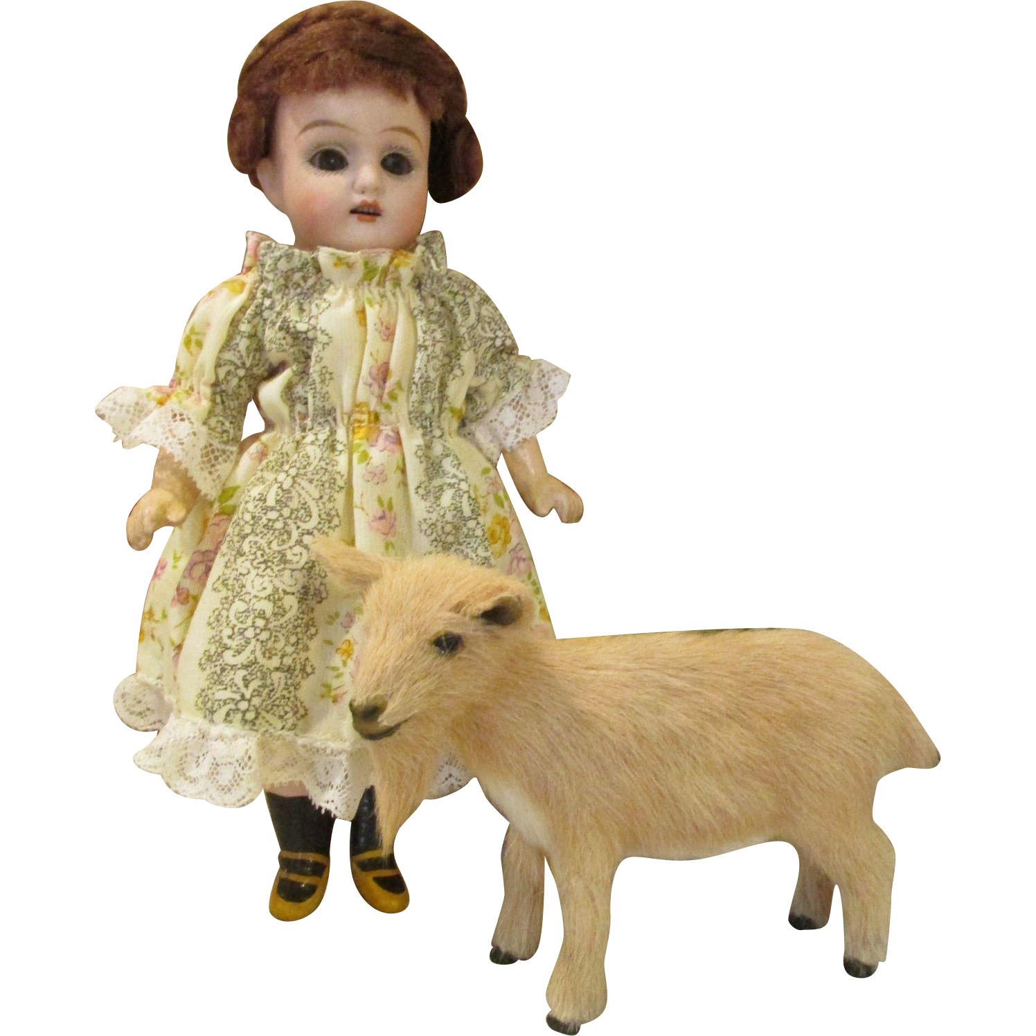 Antique Bisque Head Doll with Her Fur Covered Goat