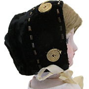 Black Velvet Bonnet for Your French Fashion Doll
