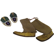 Indian Style Doll Shoes - Beaded Moccasins and Leather Boots