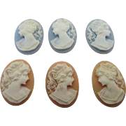 Set of 6 Cameo's To Adorn Your Doll Dresses