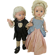 Vintage Composition Cinderella and Prince Charming Dolls in Original Outfits