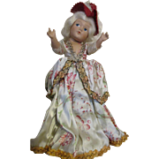 """Vintage Composition 11"""" Doll - All Original - Ornately Dressed - Great Condition"""