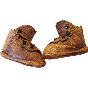 Early Leather Doll Boots with Bead Buttons