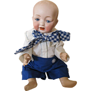"""Darling 9"""" Bisque Head Baby Doll - Solid Dome - Sweet Smile"""