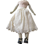 "Antique 20"" Cloth Doll Body with Leather Lower Arms"