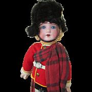 Antique All Original Bisque Head Scottish Boy Doll - Super Condition