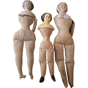 3 Antique Dolls: 2 Paper Mache Head Dolls and a Darrow Rawhide Doll - TLC - 3 Orphans