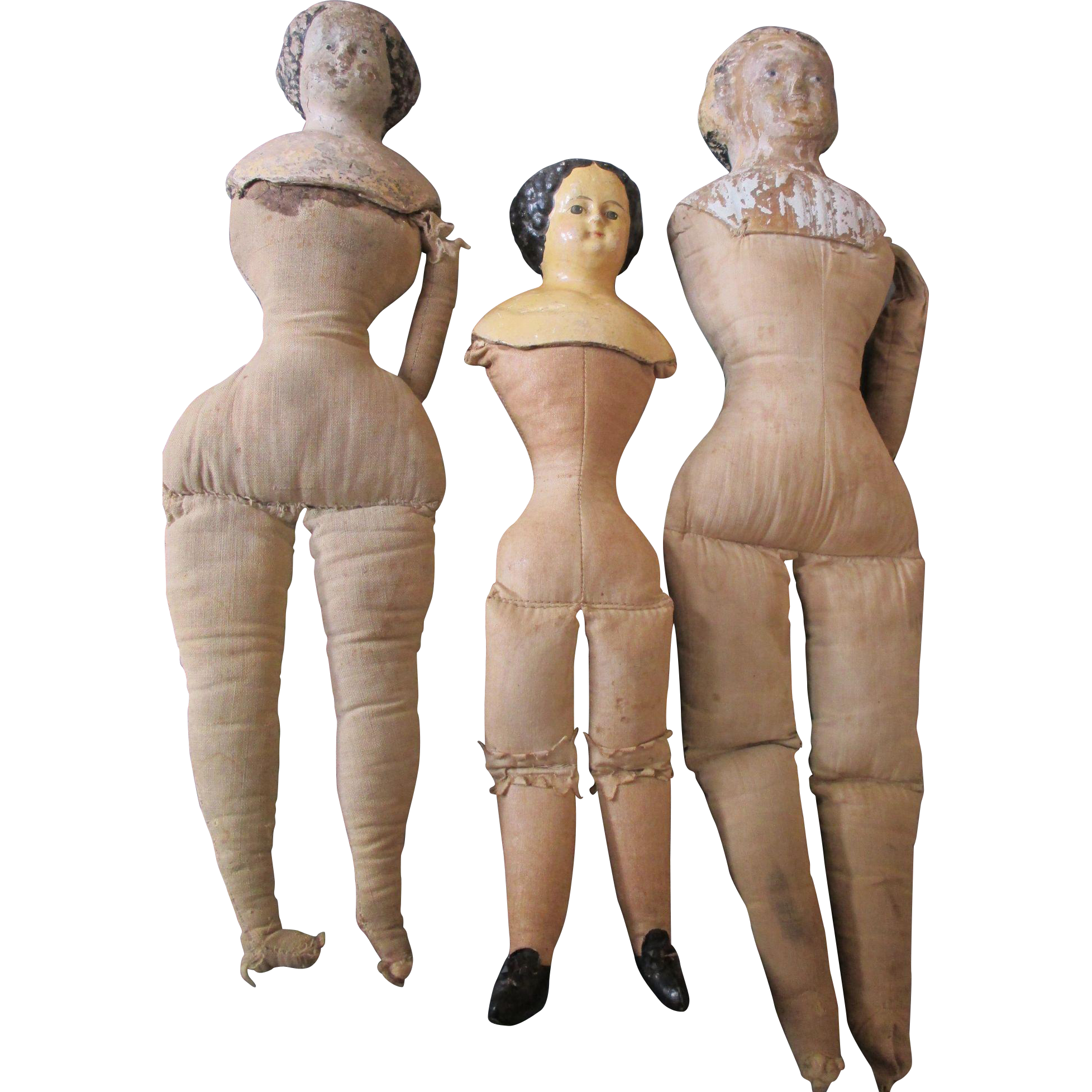 3 Antique Dolls: 2 Paper Mache Head Dolls and a Darrow Rawhide Doll ...