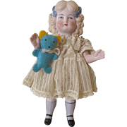 Antique All Bisque Doll With Original Clothing