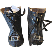 Black Oil Cloth Doll Boots