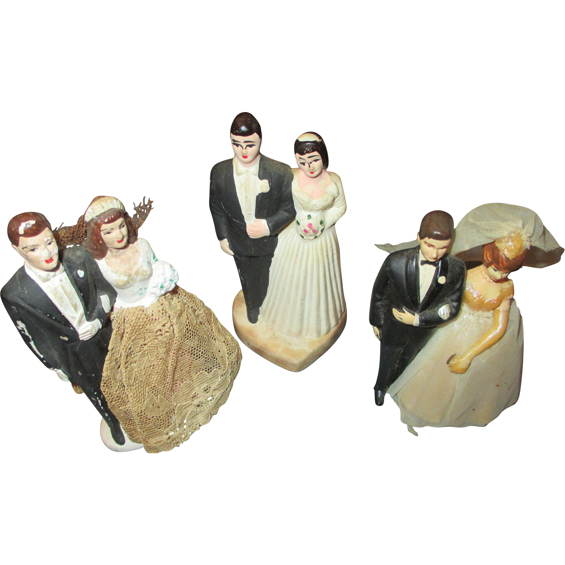 Wedding Cake Toppers Vintage: Group Of 3 Vintage Wedding Cake Toppers From