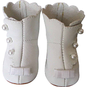 White Leather Doll Boots with Pearl Buttons