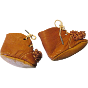 Adorable Tan Leather Doll Shoes with Pom Poms