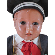 Handsome German Celluloid Head Doll with Cloth Body