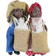 Two Small Black Bisque Dolls