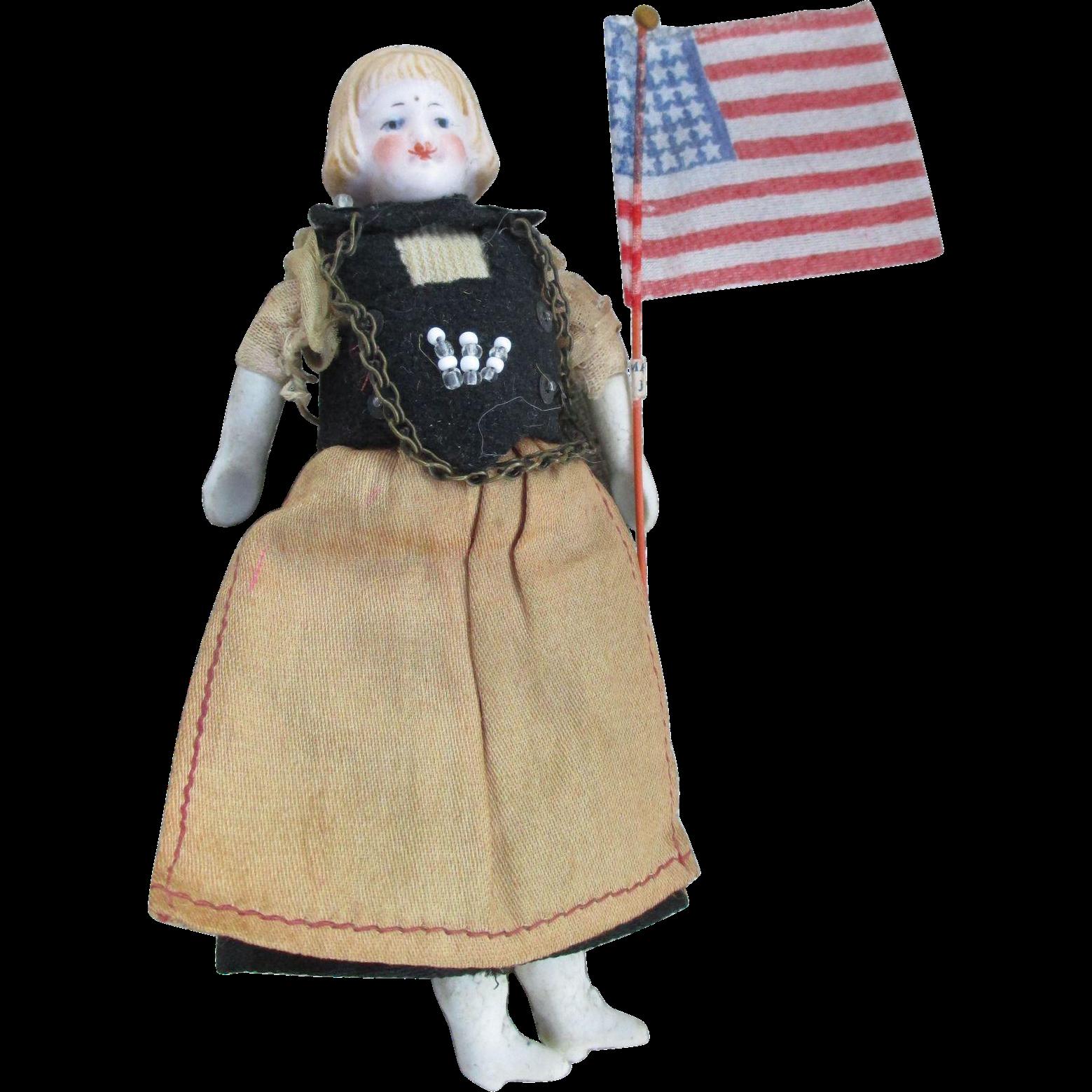 Antique Miniature Bisque Head Doll