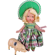 NASB Bisque Doll with Composition Pig