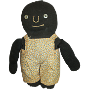 Adorable Black Cloth Folk Art Doll