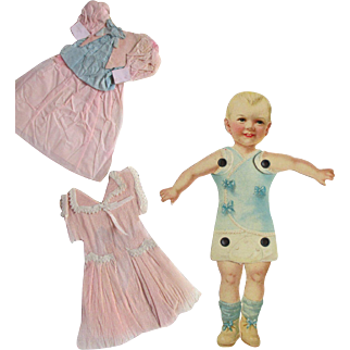 Antique Paper Doll with Crepe Paper Dresses