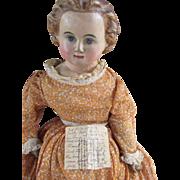 "Early 25"" Papier Mache Shoulder Head Doll"